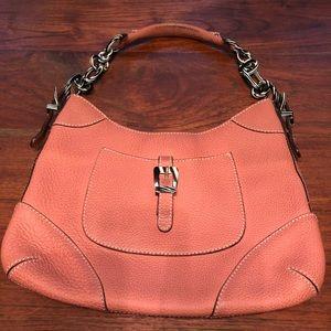 J Crew coral leather shoulder purse